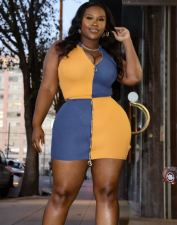 Plus Size Contrast Color Zipper Sleeveless Mini Skirt Sets LP-6276