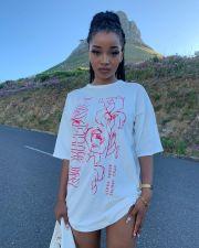 Casual Printed Half Sleeve Loose T Shirt Dress APLF-5012