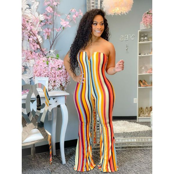 Sexy Printed Off Shoulder Flared Jumpsuit XYF-9086