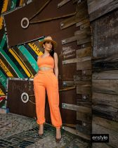 Solid Sleeveless Crop Top And Pants 2 Piece Sets LDS-3262