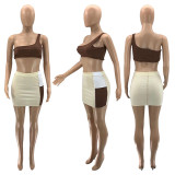 Summer Sexy One Shoulder Chest Wrapped And Patchwork Skirt 2 Piece Sets SZF-8004