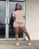 Printed Fashion Home Casual T-shirt Shorts Two Piece Sets OJS-9269