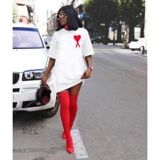 Poker Print Casual Loose Short Sleeve T Shirt Dress ASL-6339