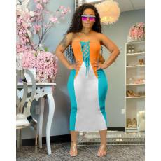 Sexy Strapless Lace Up Slim Midi Dress HM-6999