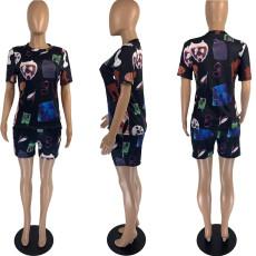 Fashion Black Cartoon Print T-shirt Shorts Two Piece Sets AIBF-6616