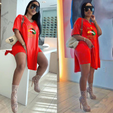 Fashion Print V-neck Short Sleeve Shorts Casual Two Piece Sets XMF-050