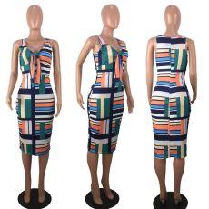 Sexy Stripe Print Sleeveless Midi Dress YMF-6058