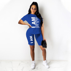 Sports Letter Print Short Sleeve Shorts Casual Two Piece Sets GHF-012