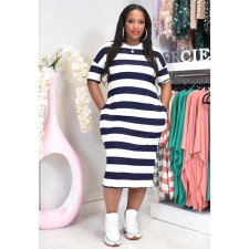 Casual Striped Short Sleeve Midi Dress AWF-5846