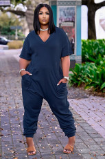 Plus Size Casual Solid V Neck Short Sleeve Jumpsuits OLYF-6041