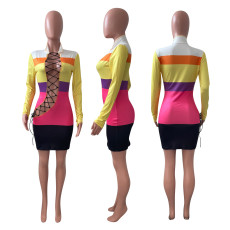 Sexy Tie Up Hollow Print Long Sleeve Mini Dress NIK-221