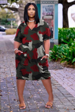 Plus Size Loose Print V-neck Casual Midi Dress TK-6159