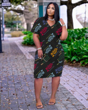Plus Size Loose Letter Print V-neck Casual Pocket Midi Dress TK-6158