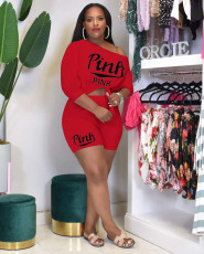 PINK Letter Print Fashion Casual Two Piece Sets OYF-8248