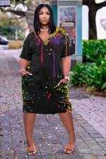 Ink Jet Print V Neck Casual Loose Dress NYF-8048