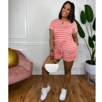Casual Striped Drawstring Pocket Rompers YYF-6561