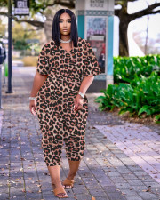 Plus Size Casual Printed V Neck Jumpsuit MTY-6510