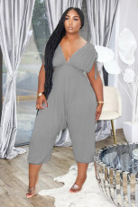 Solid V Neck High Waist One Piece Jumpsuits XYF-9089