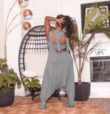 Plus Size Tube Top+Loose Harem Jumpsuit 2 Piece Suits CQ-103
