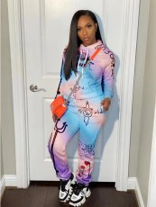 Casual Printed Hooded Long Sleeve 2 Piece Sets YLF-8065