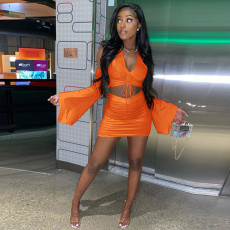 Sexy Flare Sleeve Crop Top Mini Skirt 2 Piece Sets SZF-8021