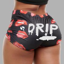 Plus Size Lip Print Sexy Mini Shorts HMS-5450