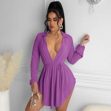 Sexy V Neck Long Sleeve Irregular Mini Dress QHF-8622