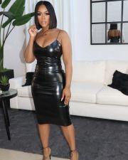 PU Leather Sexy Spaghetti Strap Slim Midi Dress OD-8427