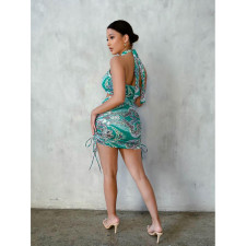 Paisley Print Halter Backless Club Dress DDF-8089