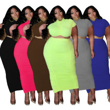 Plus Size Solid Short Sleeve Long Skirt 2 Piece Sets MOF-6616