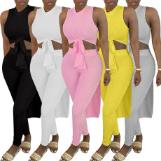 Solid Ribbed Sleeveless High Low Hem Top+Pants 2 Piece Sets YH-5220