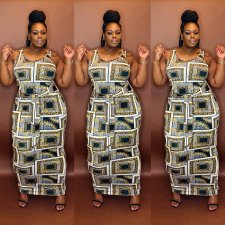 Plus Size Casual Printed Sleeveless Maxi Dress MOF-6617