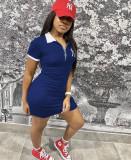 Casual Short Sleeve Turndown Collar Mini Dress WZ-8368
