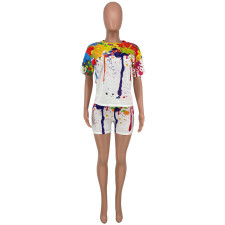 Large Size Splash Ink Print Short Sleeve Shorts Two Piece Sets CYAO-8083
