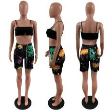 Casual Sling Top Graffiti Print Shorts Suit AWYF-724