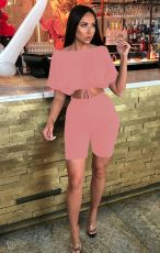 Casual Solid Color Short Sleeve Shorts Two Piece Sets JPF-1027