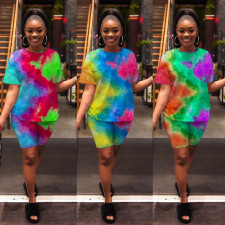 Casual Tie Dye Print Two Piece Shorts Set GS-2027