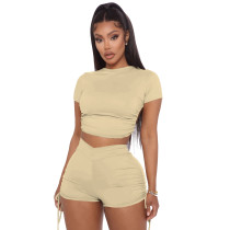 Solid Backless Rauched Two Piece Short Sets IV-8195