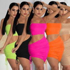 Sexy Solid Spaghetti Strap Ruched Club Dress ZLF-839