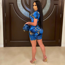 Plus Size Sexy Printed One Shoulder Zipper Romper YIY-5268