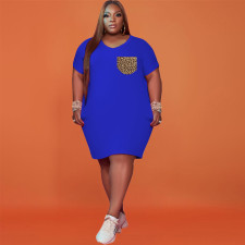 Plus Size Leopard Pokcket Short Sleeve T Shirt Dress WTF-9097