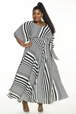 Plus Size Fashion Striped Long Dress (Without Belt) CYA-1444