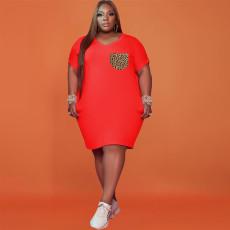 Plus Size Leopard Pokcket Short Sleeve T Shirt Dress WTF-9097