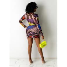 Sexy Mesh Printed Long Sleeve Mini Club Dress YIY-5273