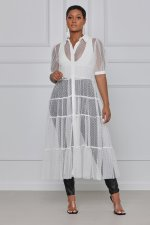 Plus Size Sexy Mesh See Through Short Sleeve Long Dress QYF-5051