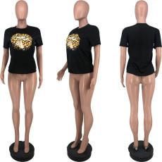 Leopard Lip Print Short Sleeve O Neck T Shirt YJF-8378