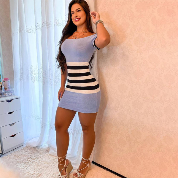 Sexy Stripe Print Short Sleeve Bodycon Mini Dress WLDF-8009