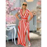 Plus Size Striped Collect Waist Split V Neck Maxi Dress YIM-176