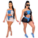 Sexy Mesh Patchwork Tube Top Shorts 2 Piece Sets YIS-535