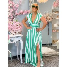 Plus Size Striped Collect Waist Split V Neck Maxi Dress YIM-176